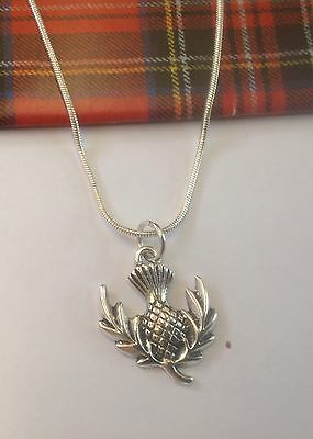 Beautiful Scottish Thistle Necklace and Earrings  on Sterling Silver Hoops