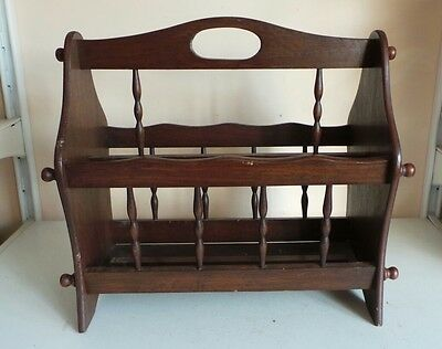 Vintage Mid Century Wooden Magazine Newspaper Rack Free Standing Country Home De