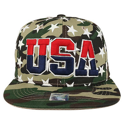 de0c25d1bad Big USA 3D Embroidered with Star Pattern Flat Bill Snapback Cap(FREE  SHIPPING)