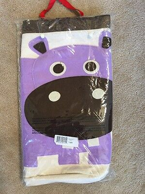 New 3 Sprouts Purple Hippo Toy Storage Laundry Hamper Bin Organic Cotton Canvas