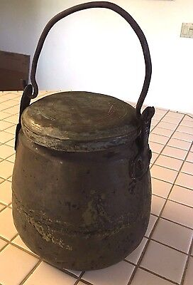 Antique Primitive Hand Forged Ash Can Pail Bucket with Lid and Handle - Unique!