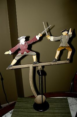 CUTE Dueling Fighting Swordsmen Tipping Folk Art Balance Toy, hand painted