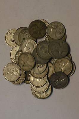 (Roll of 40) Canadian Silver Quarters, Various Dates and Grades