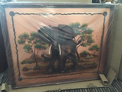 """Handmade Copper Firescreen/Wall Picture with animal motifs &Handpainted 37"""" wide"""