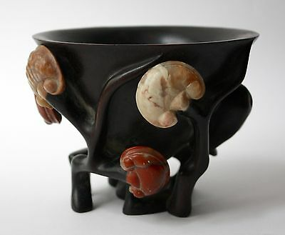 Chinese Hardwood Libation Cup as Prunus Tree with Ling Zhi of Shoushan Stones