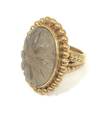 Stephen Dweck Crystal Quartz Cocktail Ring In Beaded Bronze Size 6.5 Signed