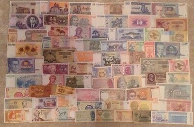 Banknote Collection. 70 Different Banknotes. All Different.