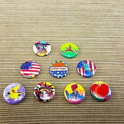 "Peter Max Button 9pc LOT Pins 1"" Pinbacks Peace Love USA Liberty Hippie Artist"