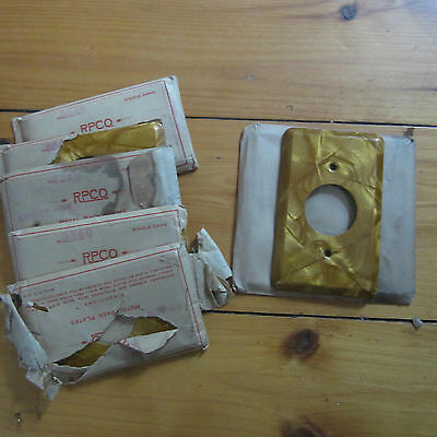 vtg 50s Mid Century MOD single gang Round Light switch Socket Plate Cover NOS