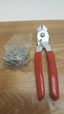 Angled Snap Ring Hog Ring Pliers with 100 Piece Clip