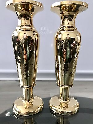 Beautiful Decorative Vintage Solid Brass Two Engraved Heavy Vases