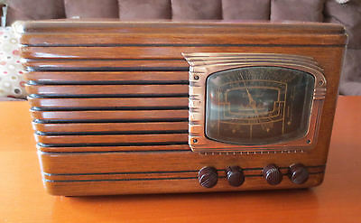 "Vintage Packard Bell Model 35H ""Stationized"" Wood Tube Radio 1938 Restored"