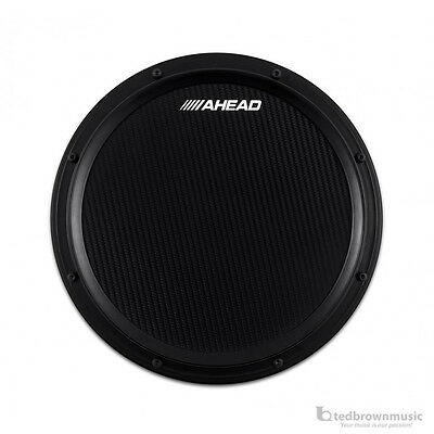"""Ahead S-Hoop Carbon Fiber Marching Practice Pad w/ Snare Sound - 14"""" - Black"""
