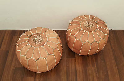Set of 2 Moroccan Leather Poufs,Handcrafted Leather Pouffe ottoman,Footstool,P02