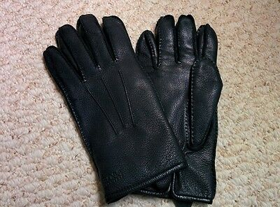 Hugo Boss Black Leather and Fur Men's Gloves Size 9 L