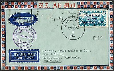 1934 NZ - Aust First Trans Tasman flight cover AAMC # 360 with 7d opt TS442