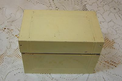 Vintage Yellow Metal Recipe Box With Handwritten  & Clipped Recipes