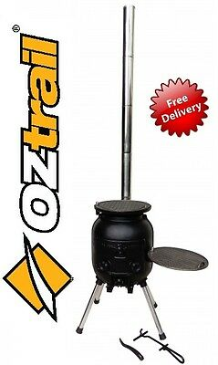New Model!!! OZtrail Outback Cooker OCI-OBC-B portable cast iron stove grill