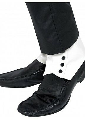 Roaring 20s Great Gatsby Gangster Spats Shoe Covers With Black Buttons