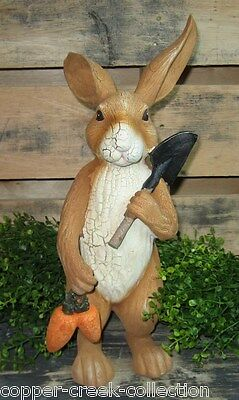 "BUNNY RABBIT Statue/Sculpture*Primitive/French Country Garden Room Decor*14"" T"
