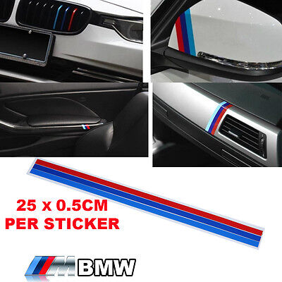 2 X Grill M Sport Grill Sticker 3 Color Stripes Vinyl Decal Badge Emblem For BMW