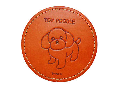 Toy Poodle Handmade Leather Animal Coaster-water proof*VANCA*Made in Japan#26512