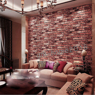 10M Red Realistic Rustic Brick Wall Feature Wallpaper Walls Covering Roll 3D New