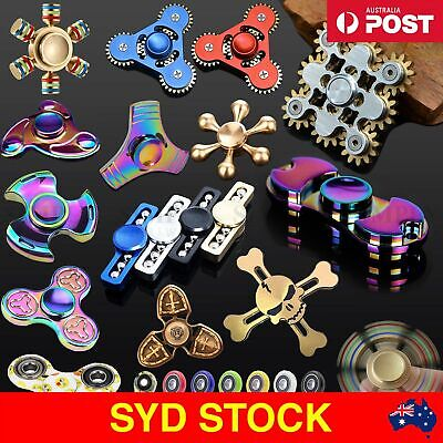 AU Fidget Spinner LED Metal Gold Tri Stress 3D ADHD EDC Toy Fidgetspinners Glow