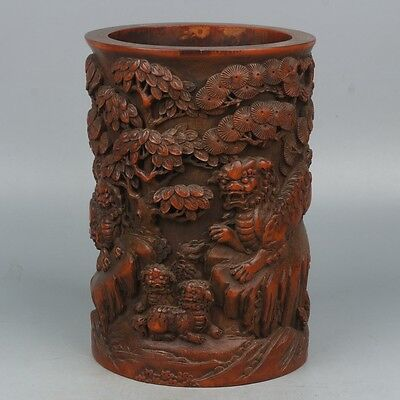 Chinese Exquisite Hand-carved lion pine carving bamboo pen holder