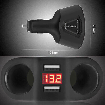1x Universal Car LCD  DC 12V Dual USB Charger 2 Cigarette Lighter Socket Adapter