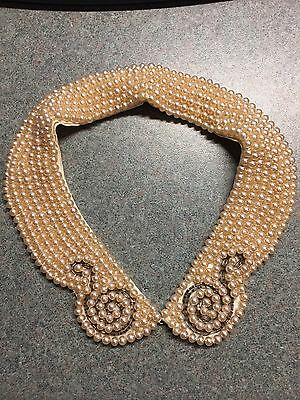Vintage Faux Pearl Beaded Collar Silver Beads Design Made in Japan Necklace Bib