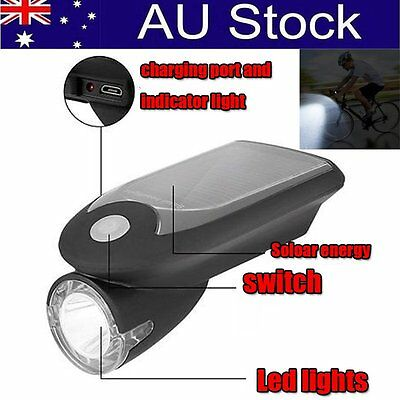 USB Solar Charging Bicycle Light Rechargeable Solar Headlight Waterproof O5U