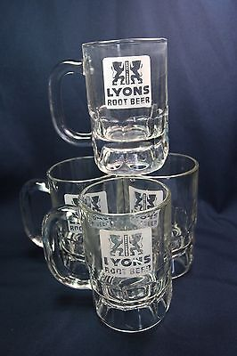 Vintage Lyons Root Beer Mug - Heavy Thick Glass Mug - Excellent!