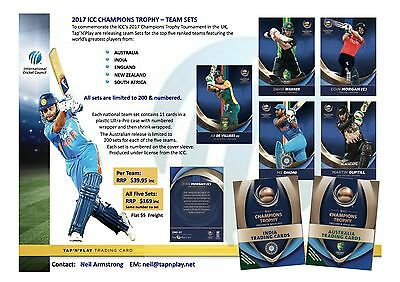 ICC 2017 Champions Trophy ALL 5 TEAM SETS of Licensed Trading Cards