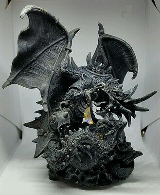Fantasy Decor Black Dragon Statue Light Battery Operated with Multicolor LED