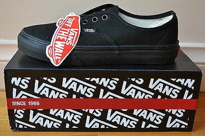 Authentic Vans Classics Kids Youth Shoes Black/Black U.S Size 1 *Brand New*