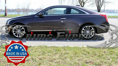 2015-2018 Cadillac ATS Coupe 2Dr 6Pc Chrome Lower Flat Body Side Molding Trim