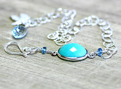 Natural Teal Chalcedony & Blue Topaz Circle Link Bracelet Solid Sterling Silver
