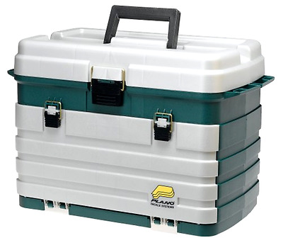 Tackle Box Plano 4 Drawer With Four Bait Racks Large Bulk Storage and Side Tool