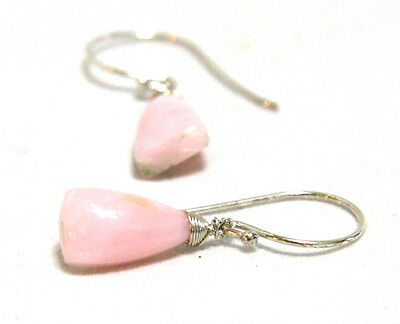 Natural Pink Opal Earring in Solid Sterling Silver , October , Wire Wrapped