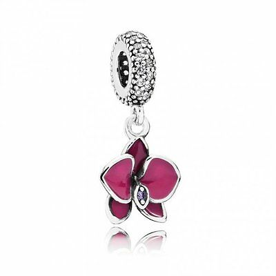Genuine Pandora Orchid Silver Charm Summer S925 ALE + Pop Up Box 791554EN69