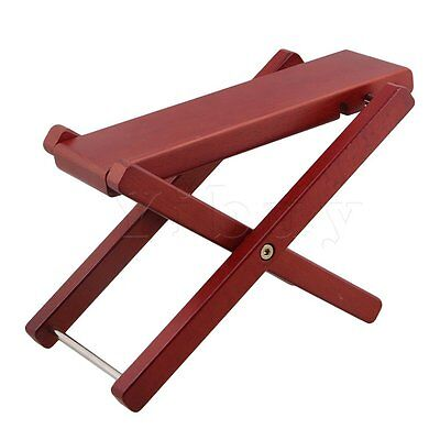 Guitar Footrest Solid Wood Guitar Pedal 3-Level Adjustable Height Red