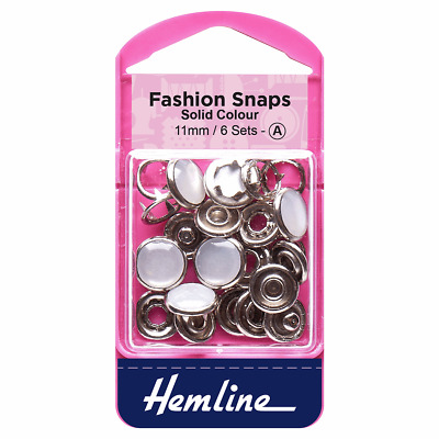 Hemline Fashion Snaps,  Pearl Solid Top 11mm 6 Sets