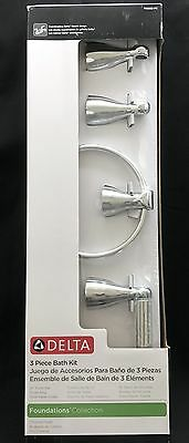 Delta Foundations 3 Piece Bath Accessory Kit Chrome Towel Bar Ring Paper Holder