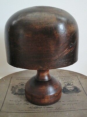 Original Vintage Wooden Hat Block/Form with Stand, Millinery Display.
