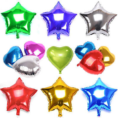 10pcs Heart  Star Shape Solid Foil Balloon Helium Baby Shower Wedding Party Home