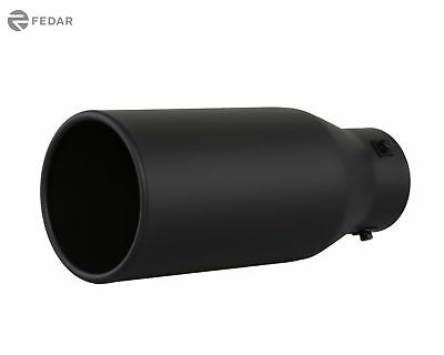 Bolt-On Exhaust Tip Single Wall 4 In 6 Out 233111 Truck Angled Black 12in