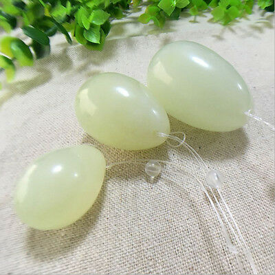 3pcs Natural Light Green Xiuyan Jade Pelvic Yoni Egg Kegel Exercise Massage Set