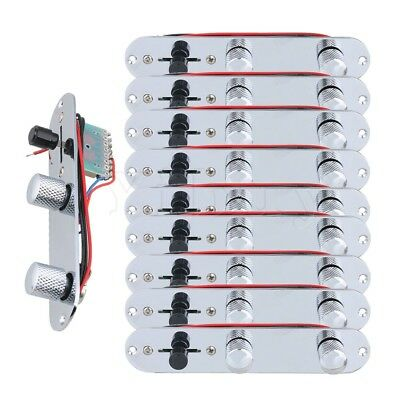 "10pcs 6.3 x 1.33"" Chrome Pre Wired Switch Control Plate for Electric Guitar"