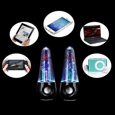 LED Water Dancing Fountain USB Speakers Stereo Set For Tablets Mobiles Laptop PC